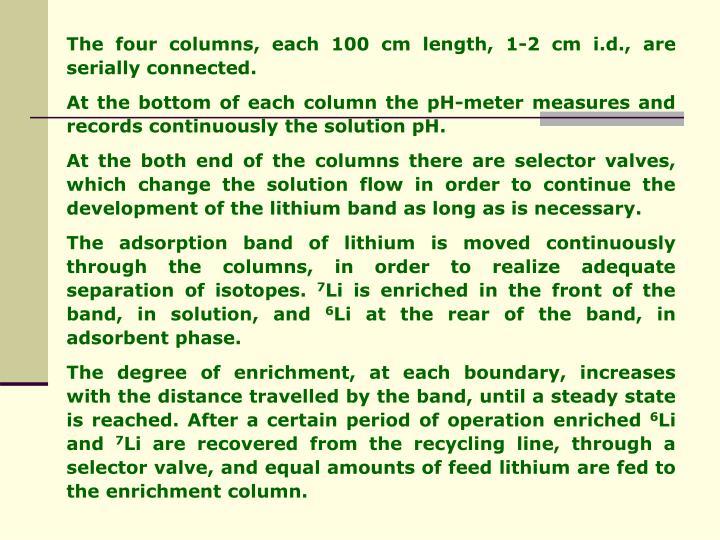 The four columns, each 100 cm length, 1-2 cm i.d., are serially connected.