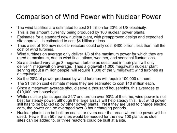 Comparison of Wind Power with Nuclear Power