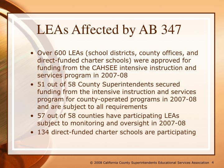 LEAs Affected by AB 347