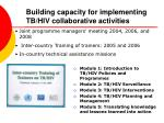 building capacity for implementing tb hiv collaborative activities