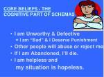 core beliefs the cognitive part of schemas