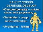 faulty coping defenses develop