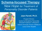 schema focused therapy new hope for treatment of personality disorder patients