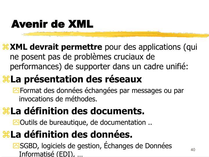 Avenir de XML