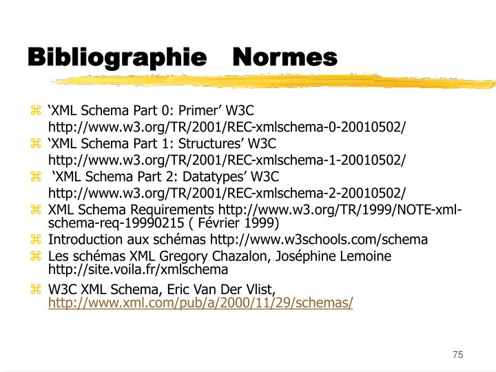 Bibliographie   Normes