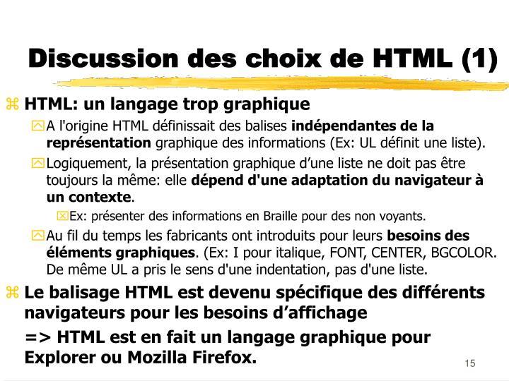 Discussion des choix de HTML (1)