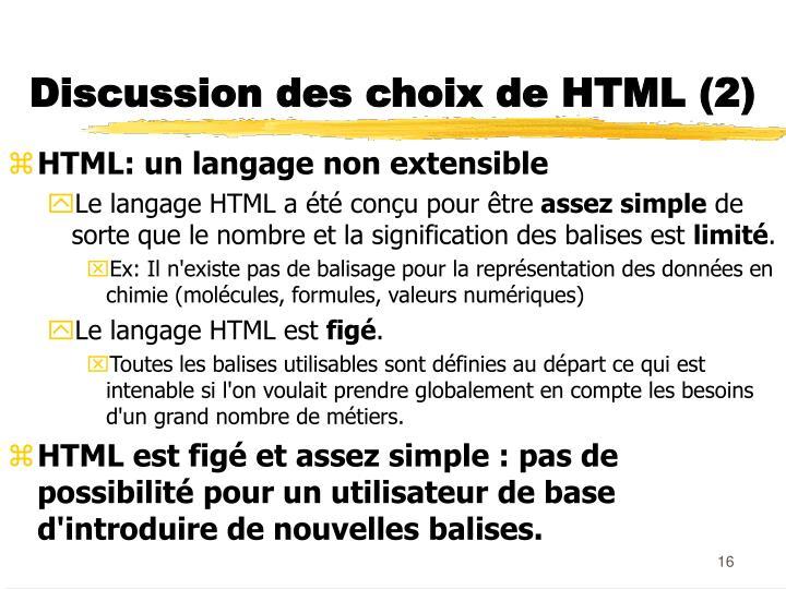 Discussion des choix de HTML (2)