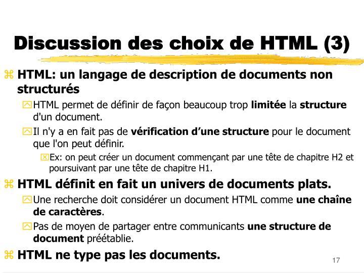 Discussion des choix de HTML (3)