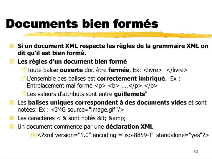 Documents bien formés