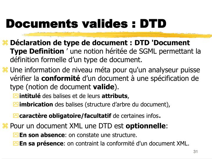 Documents valides : DTD