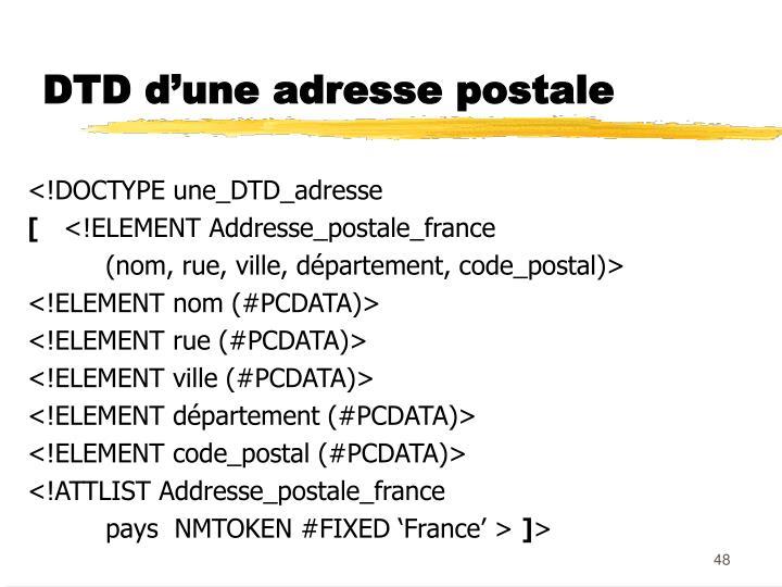 DTD d'une adresse postale