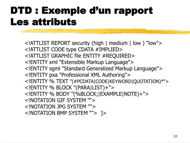 DTD : Exemple d'un rapport