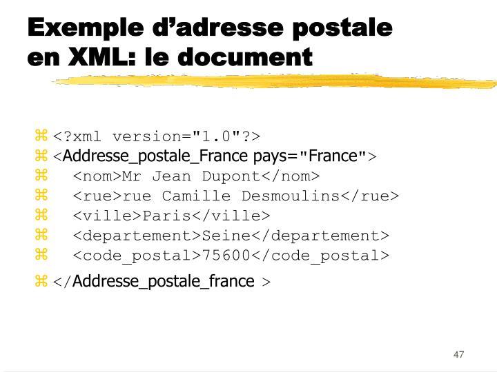 Exemple d'adresse postale