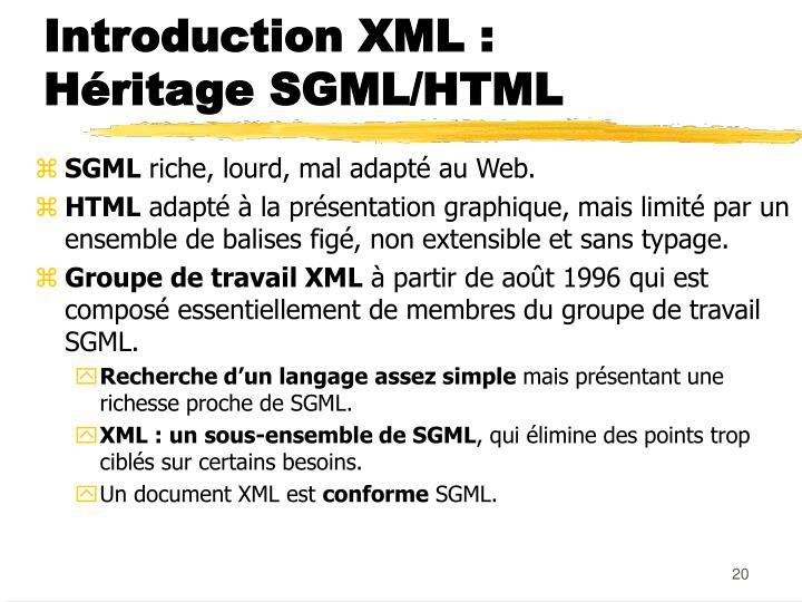 Introduction XML :