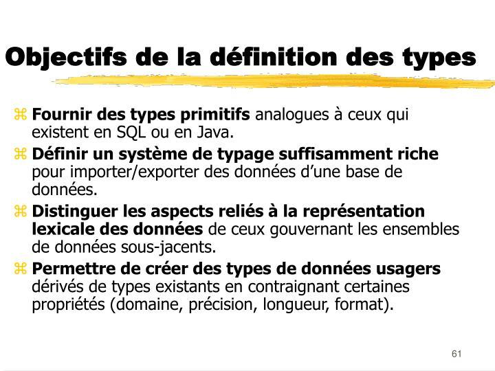 Objectifs de la définition des types