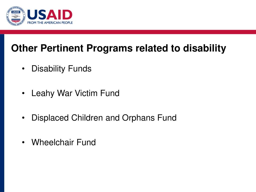 Other Pertinent Programs related to disability