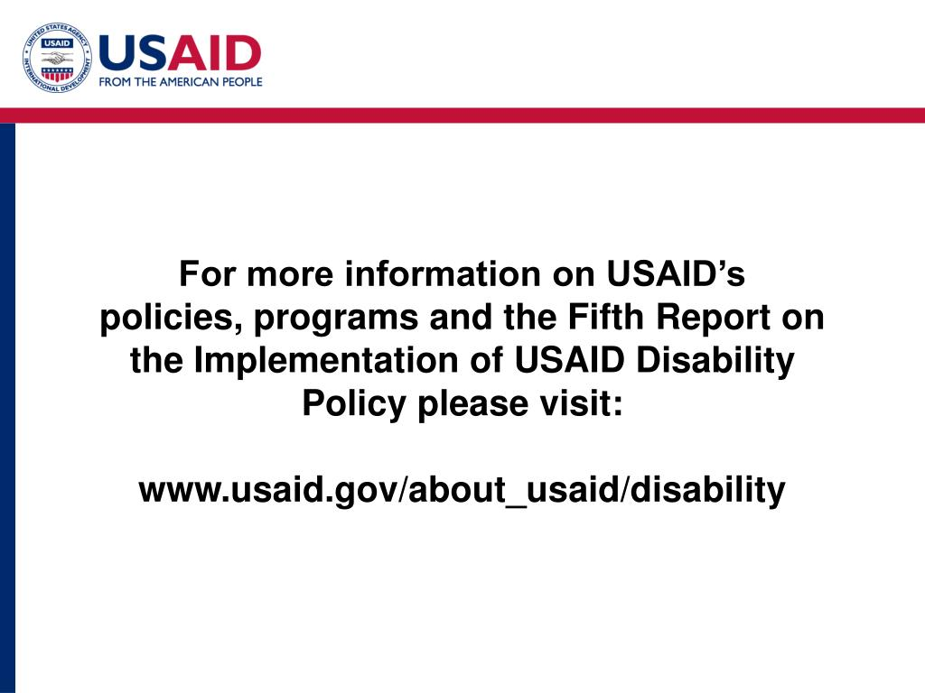 For more information on USAID's