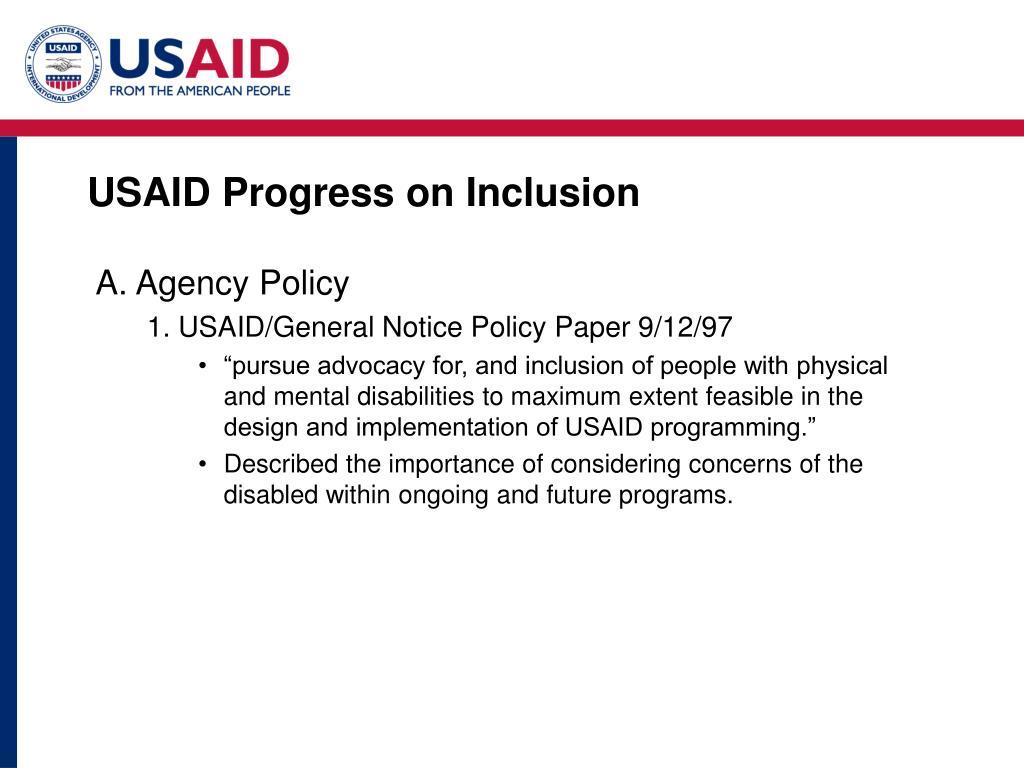 USAID Progress on Inclusion