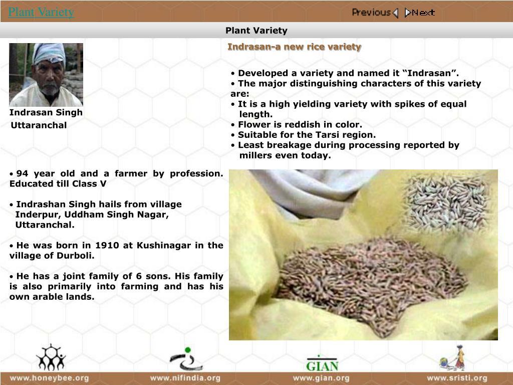 Indrasan-a new rice variety