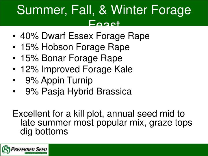 Summer, Fall, & Winter Forage Feast