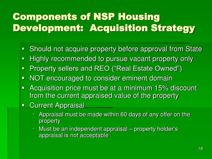 Components of NSP Housing Development:  Acquisition Strategy