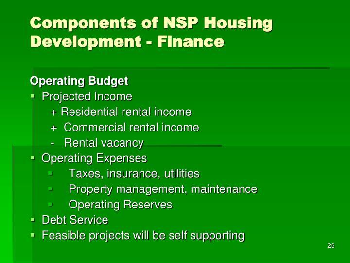 Components of NSP Housing Development - Finance