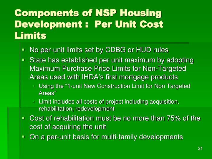 Components of NSP Housing Development :  Per Unit Cost Limits