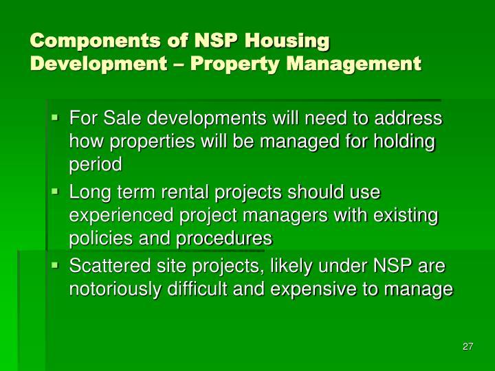 Components of NSP Housing Development – Property Management