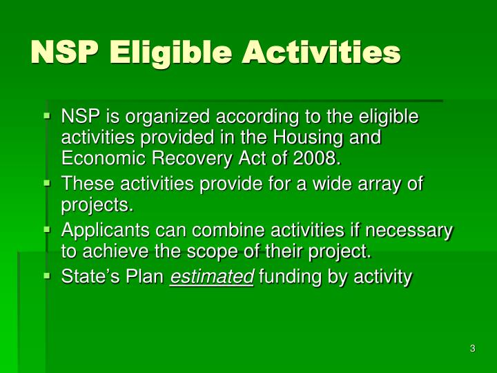 Nsp eligible activities