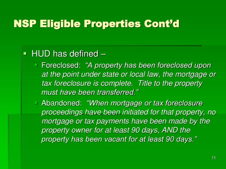 NSP Eligible Properties Cont'd