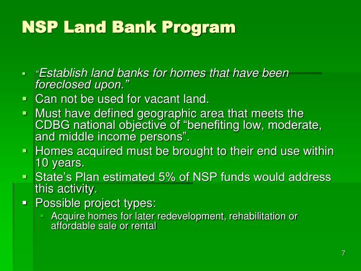 NSP Land Bank Program