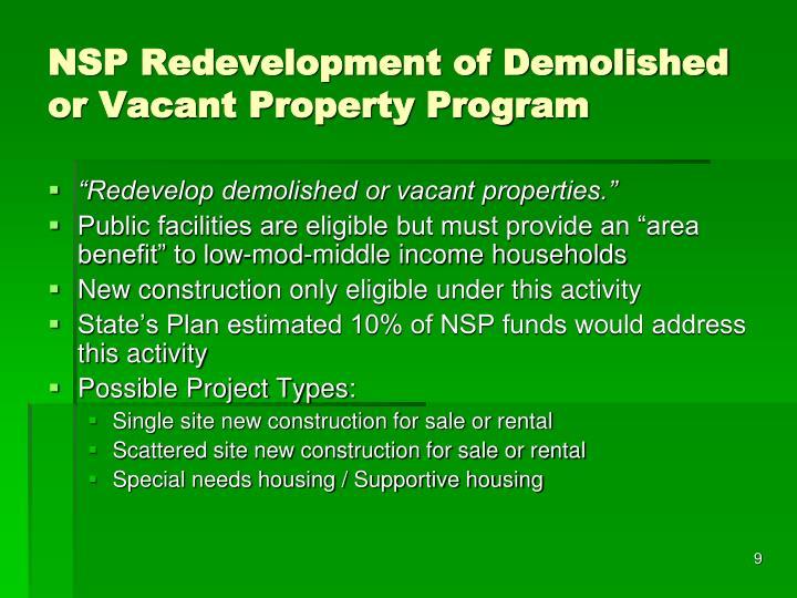 NSP Redevelopment of Demolished or Vacant Property Program