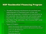 nsp residential financing program