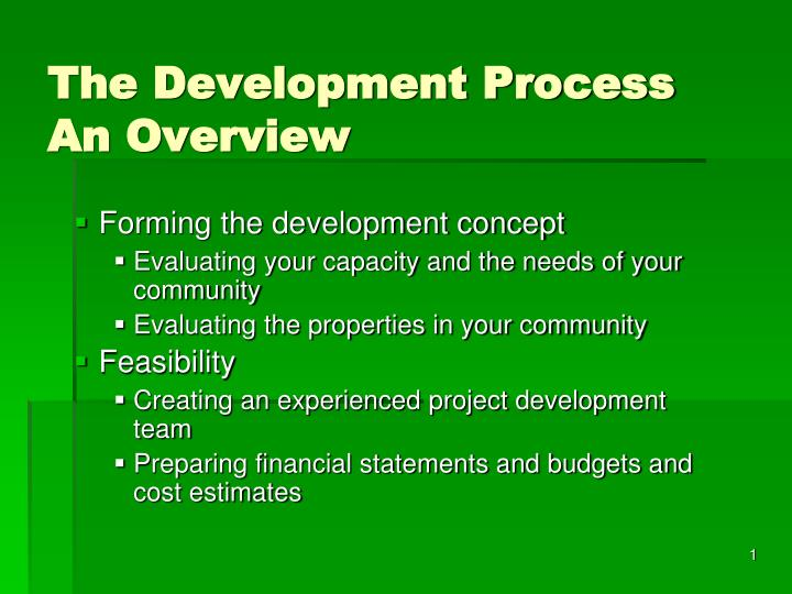 the development process an overview n.