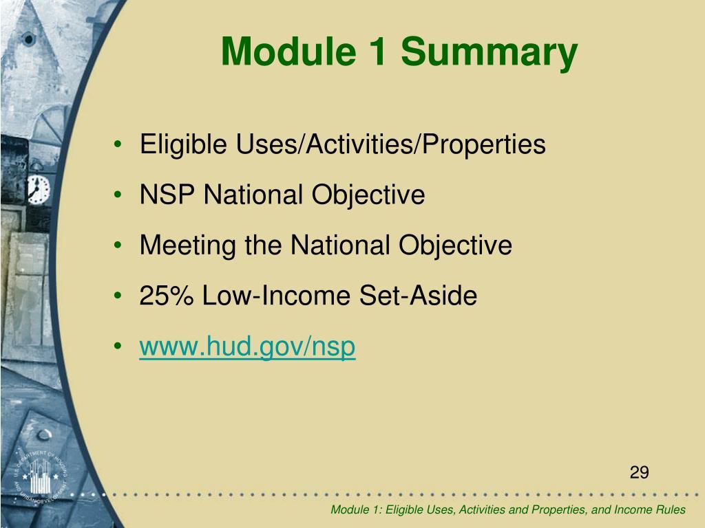 Eligible Uses/Activities/Properties