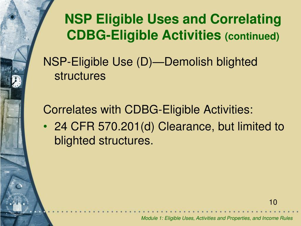 NSP-Eligible Use (D)—Demolish blighted structures