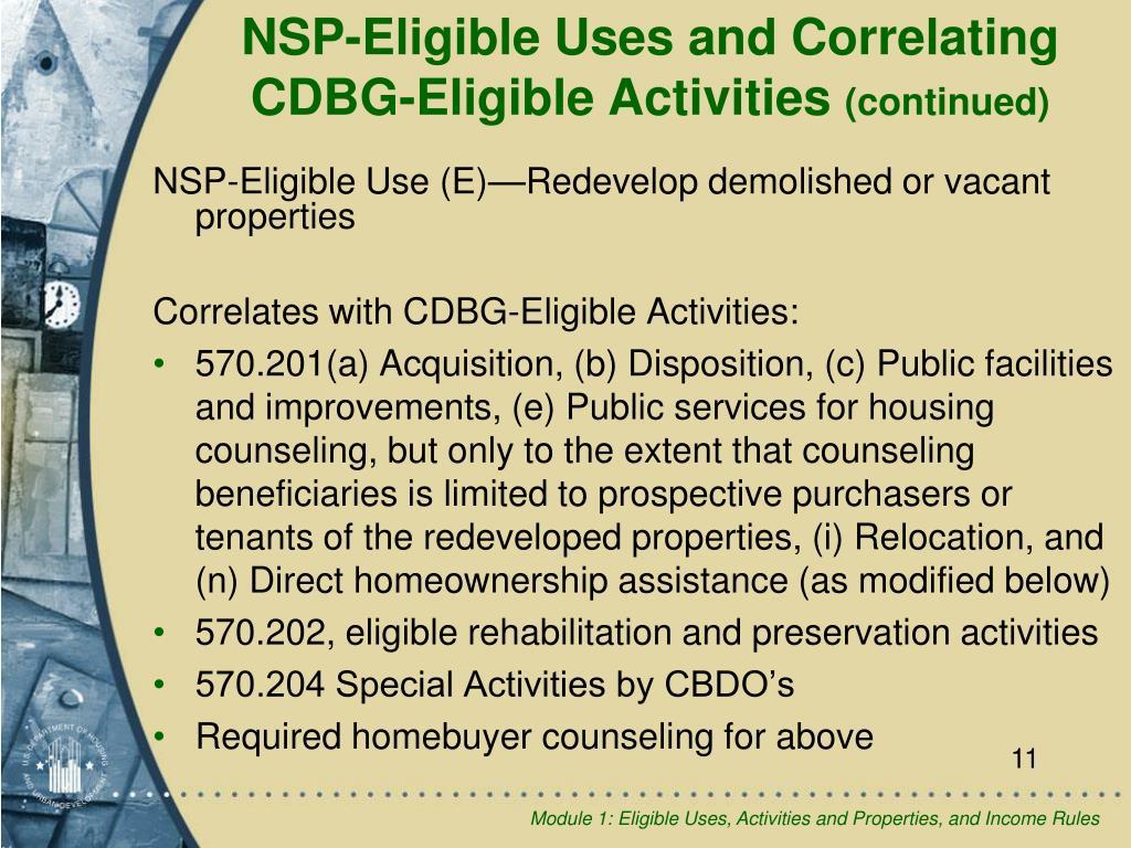NSP-Eligible Use (E)