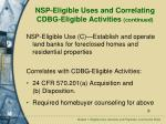 nsp eligible uses and correlating cdbg eligible activities continued9
