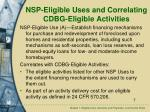 nsp eligible uses and correlating cdbg eligible activities