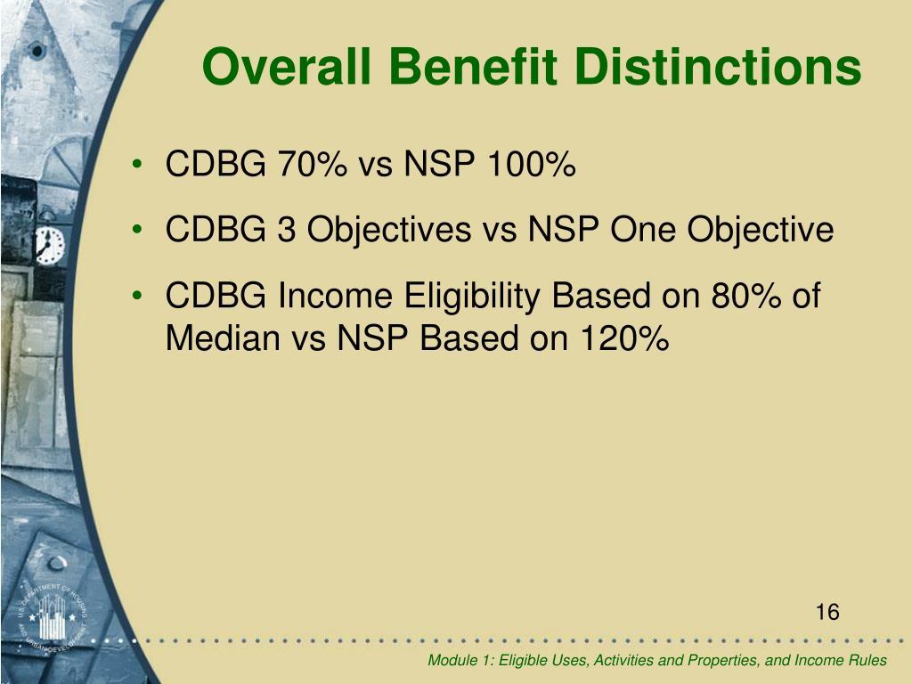 CDBG 70% vs NSP 100%