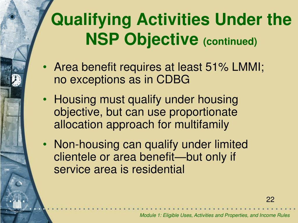 Area benefit requires at least 51% LMMI; no exceptions as in CDBG