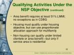 qualifying activities under the nsp objective continued