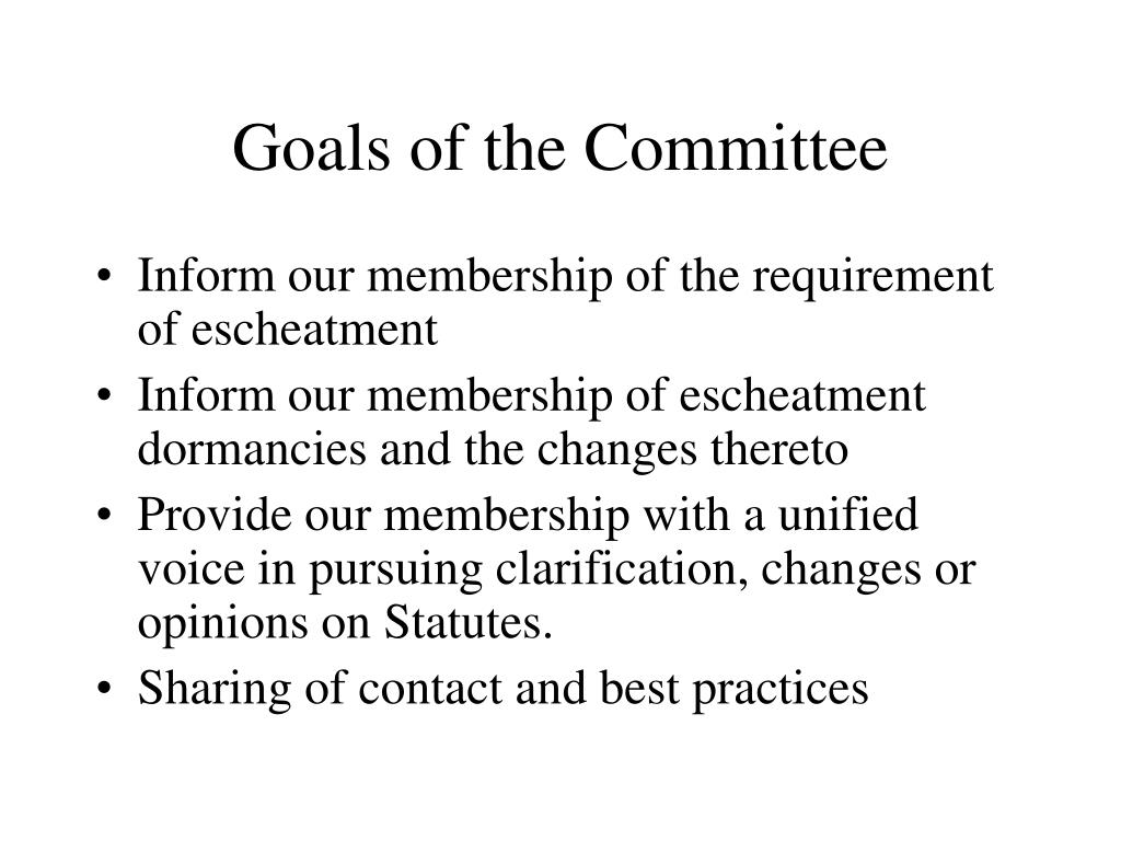 Goals of the Committee