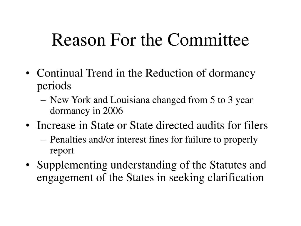 Reason For the Committee