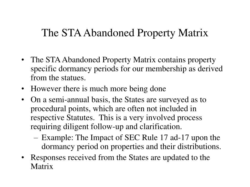 The STA Abandoned Property Matrix