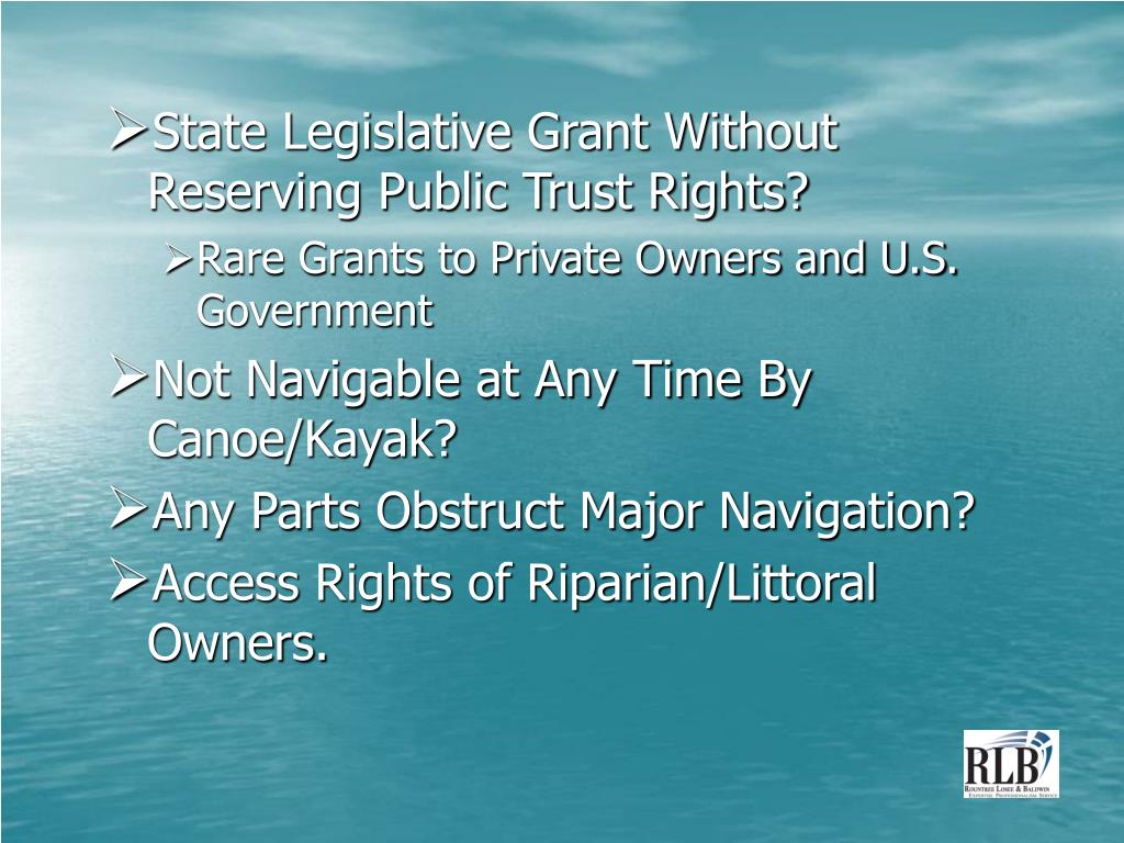 State Legislative Grant Without Reserving Public Trust Rights?