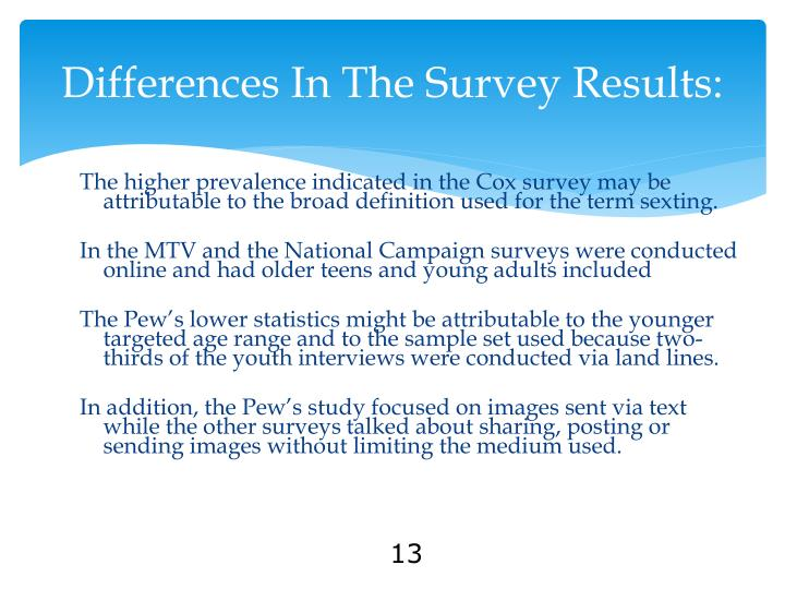 Differences In The Survey Results: