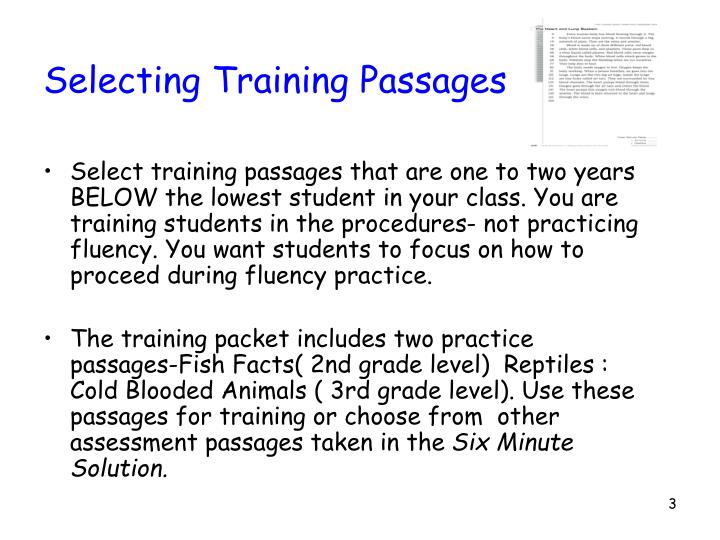 Selecting training passages