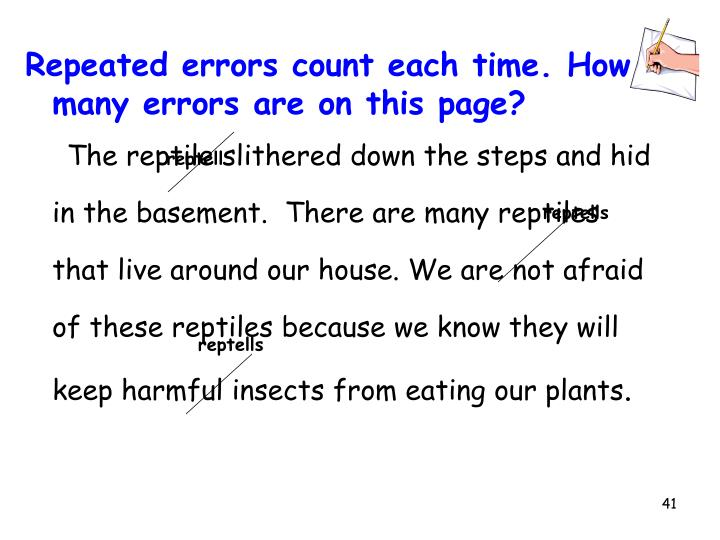 Repeated errors count each time. How many errors are on this page?