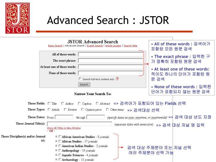 Advanced Search : JSTOR